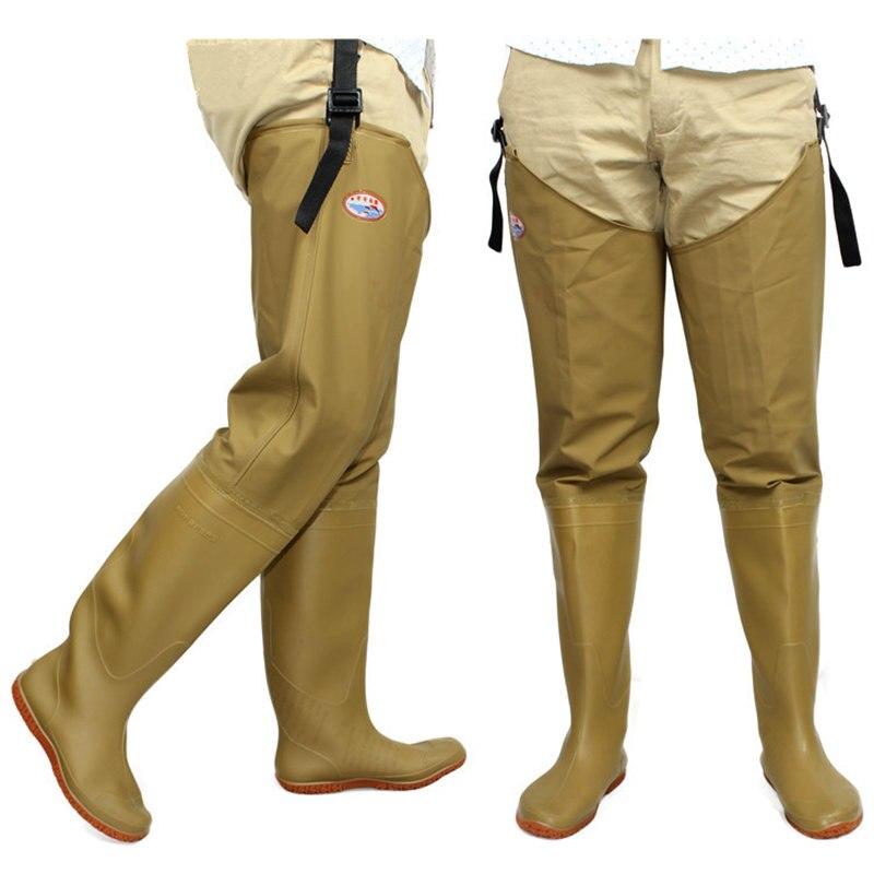 Adjust Height Strap Fishing Waders Thickening Waterproof PVC Material Soft <font><b>Boots</b></font> Outdoor Hunting Fish Fishing Waders Pant+<font><b>Boot</b></font>