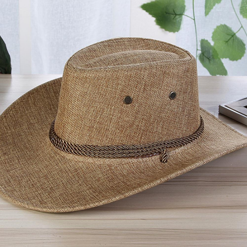 New Linen Men Summer Sun Hats Solid Cool Western Cowboy Hat Outdoor Wide Brim Hat Male Riding Caps Accessory For Sun Protection