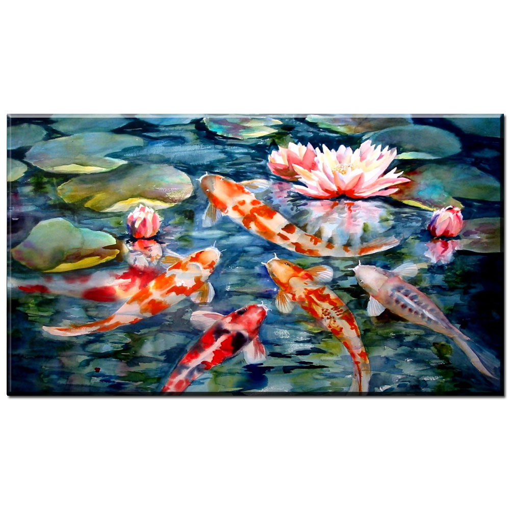 Zz1338 Chinese Canvas Wall Art Koi Fish Lotus Pictures
