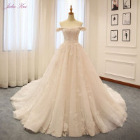 Elegant New Arrival Sleeveless Appliques Boat Neck Ball Gown Bridal Dresses Puffy Tiered Train Off The Shoulder Wedding Dresses