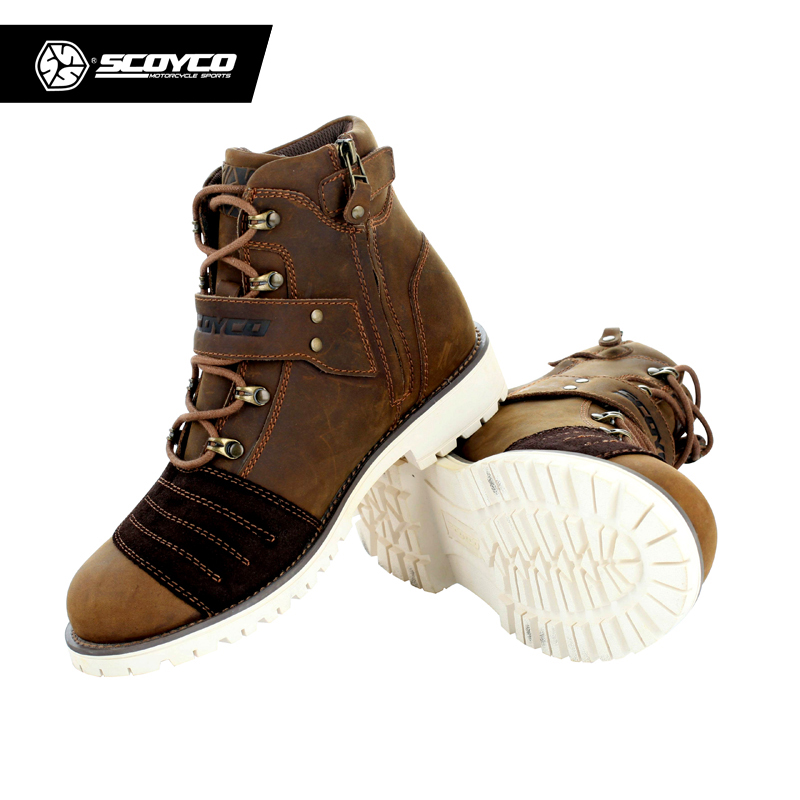 SCOYCO MBT006 Motorcycle Touring Boots Vintage Design Casual Wear Cow Leather Riding Ankle Motorbike Street Racing botas moto