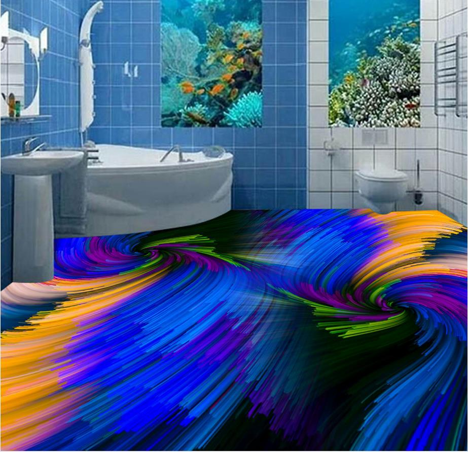 3d flooring 3D stereoscopic Colorful abstract swirl floor pvc floor wallpaper 3d floor painting wallpaper customized 3d wallpaper 3d pvc floor painting wallpaper sea fish 3d floor tile beauty 3d wall murals room decoration