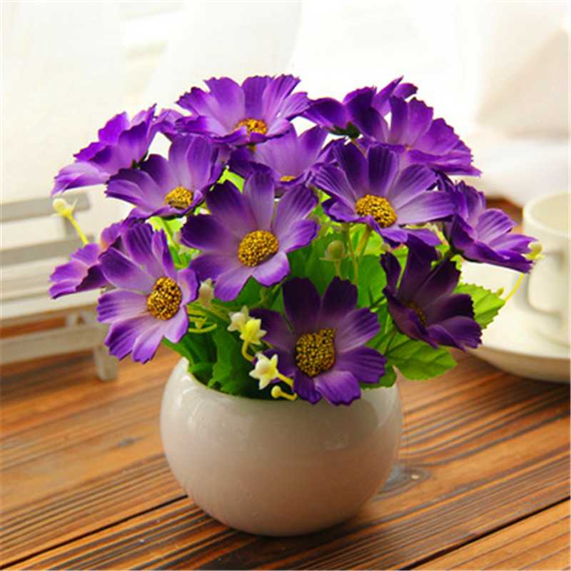 1 pot culture artificial flowers home decoration plastic for Artificial flowers decoration home