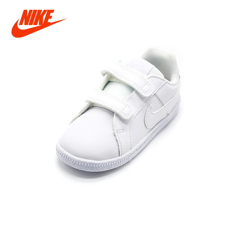 Nike Court Royale Unisex Boy Kids Sneakers White Hook Loop Flat Girl Casual Shoe Breathable Lightweight Children Running Sneaker