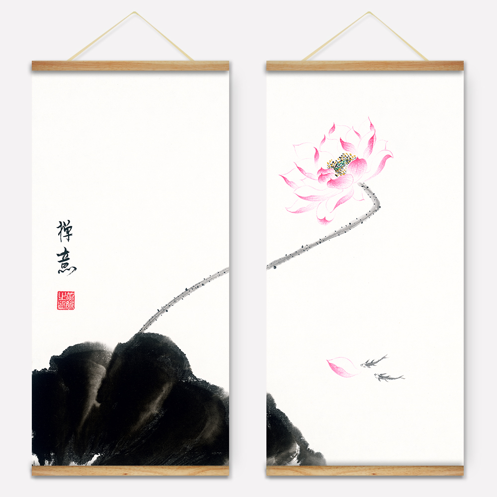 Wooden Scroll Wall Art Retro Chinese Style Ink Pink Lotus Decoration Wall Art Pictures