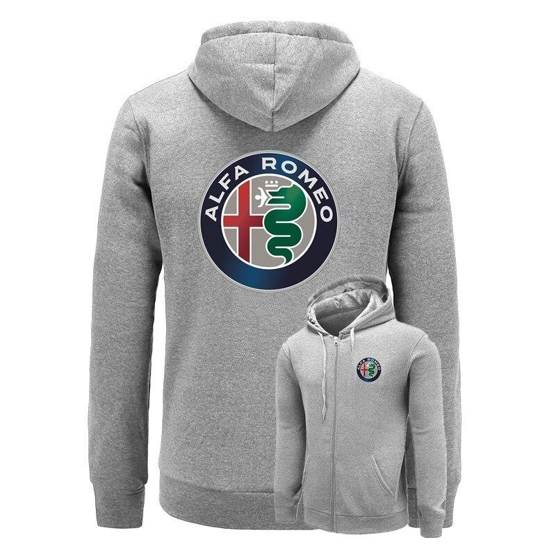 Alfa Romeo Stampato Felpe Uomini Solido Della Chiusura Lampo Del Cardigan Felpe Slim Fit Abbigliamento Sportivo Di Modo Casual Tuta Dropshipping 2018