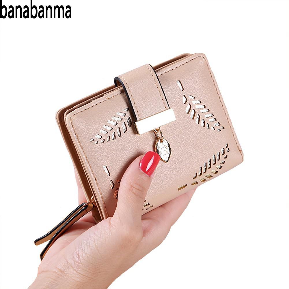 Banabanma Women Purse Small Wallets Female Leaf Pendant Hollow Short Purse PU Leather Lady Zipper Coin Pocket Wallets&purse ZK10
