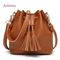 Aminou Tassel Bucket Bags Women Pu Leather Shoulder Bag For Teenager Girls Fashion String Messenger Handbags
