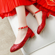 Chinese wedding style comfortable round head pumps fashion beading chain belt buckle sequin red gold silver women shoes big size(China)