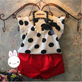 2016 New Summer Fashion Children Girls Polka dot T shirts +Red shorts clothing set Baby girl Clothes Suits Without Necklace