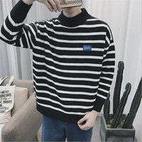 Mens Knitted Striped Sweater Men Casual Outwear Coarse Wool Pullovers Homme Black White Vintage Fashion Oversized