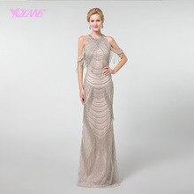 YQLNNE длинное платье для выпускного вечера, 2019, стразы, кисточки, Русалка, молния сзади, формальное платье YQLNNE