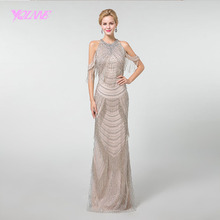 YQLNNE Halter Long Prom Dresses 2019 Rhinestone Tassel Mermaid Beadings Back Zipper Formal Dress YQLNNE