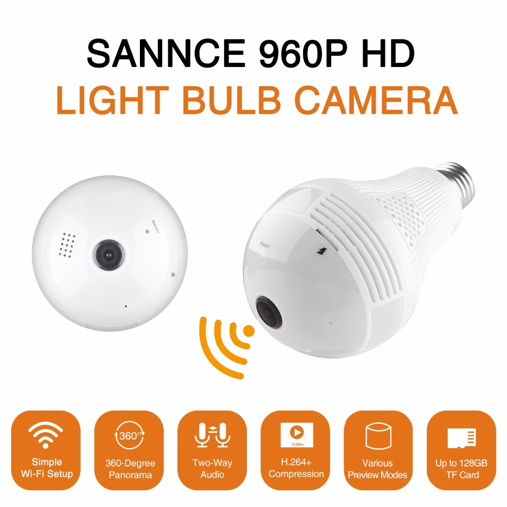 SANNCE Led Light 960P Wireless Wifi IP Camera Panoramic FishEye Home Security Surveillance CCTV Camera 360 Degree Night Vision wireless 360 degree panoramic camera fisheye camera hd 960p 1 3mp wifi ip camera home security surveillance camera night vision