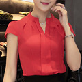 2017 Fashion Woman Formal Office Shirts Ladies Chiffon V-neck Blouse Summer Short Sleeve Tops Womens Elegant Solid Color Blouse