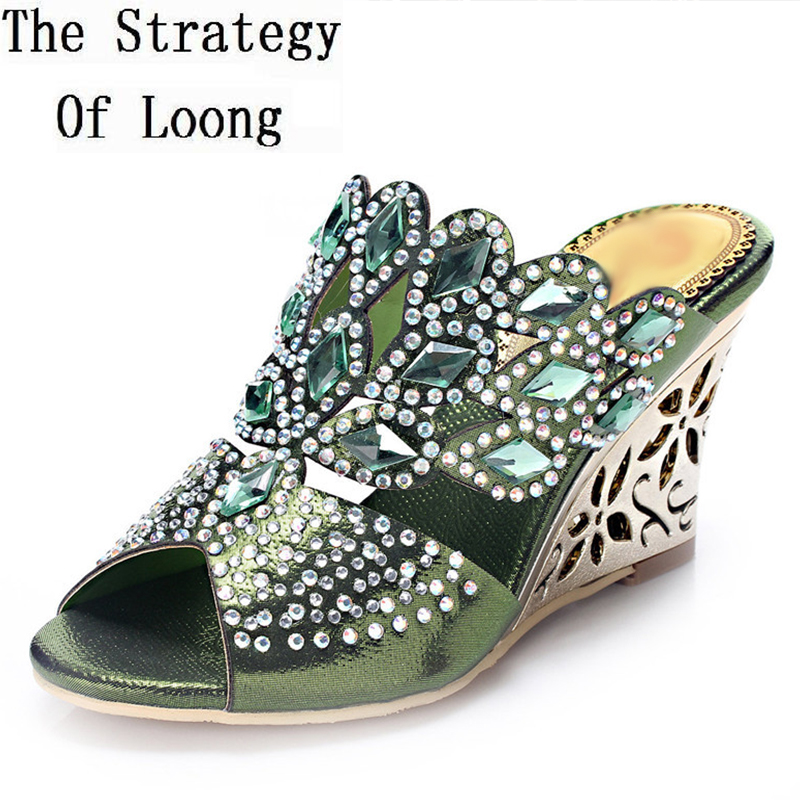 Genuine Leather Rhinestone Wedge High Heel Women Summer Crystal Slipper Shoes Lady Flip Flops Slippers Plus Size 33-44 SXQ0509 best selling european genuine leather super high heel wedge slippers women floral wedge pumps summer shoes 4 color ml2063