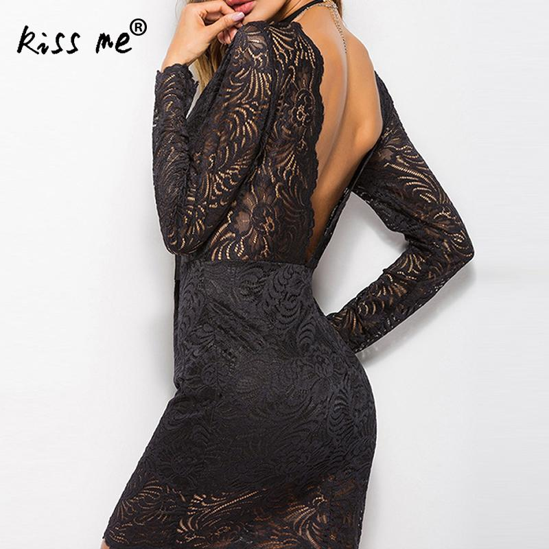 2018 Summer Lace Dress Vintage Casual Slimming Sexy Backless Work Women Party Dresses V-neck Sexy Hollow Out Sheath Dress