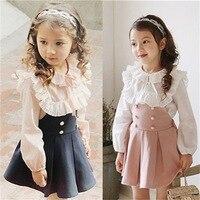 Oklady 2017 Çocuk Giyim Kız Elbise + Dantel T Shirt 2 Parça Set Prenses Bebek Çocuk Sonbahar Yeni Varış Kore bluz + Elbise Setleri