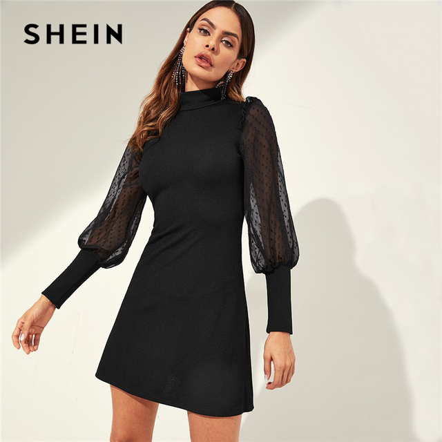3882ab7eb0 SHEIN Black Mesh Sleeve Mock-neck Frill Shoulder Keyhole Back Ribbed Knit  Tunic Dress Women