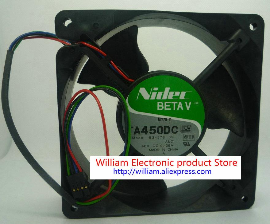 Новый оригинальный охлаждающий вентилятор Nidec 120*120*38 мм 12 см ta450dc b34578-35 48v 0.25a
