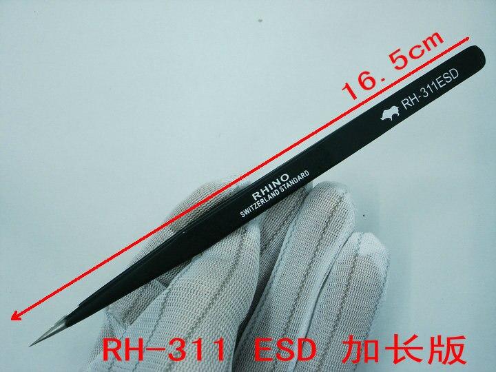 Japanese RHINO Brand RH-311 ESD Tweezers Anti-static High-precision Super Hard For Repairing Watch or MobileJapanese RHINO Brand RH-311 ESD Tweezers Anti-static High-precision Super Hard For Repairing Watch or Mobile