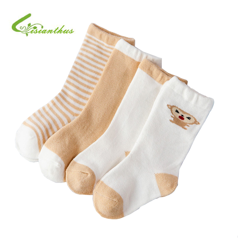 4 Pair/ Lot Newborn Toddler Knee High Sock Baby Boy Girl Socks Cute Striped Cartoon Animal Skid Resistance Leg Warmers For 1-36m