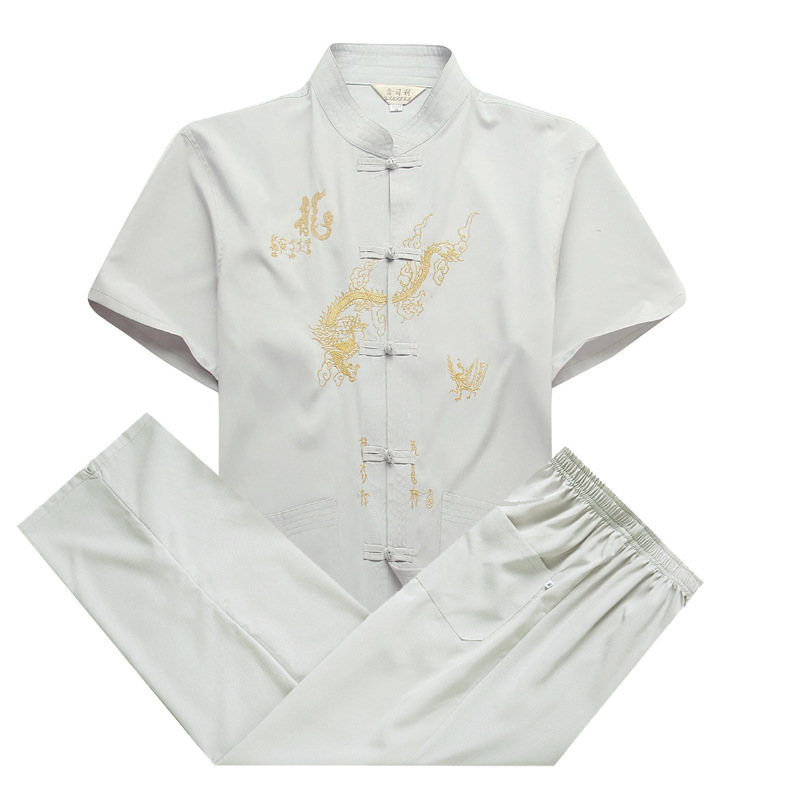 Купить с кэшбэком Traditional Suit Chinese Tops Men Cotton Short-Sleeves Shirt And Pants