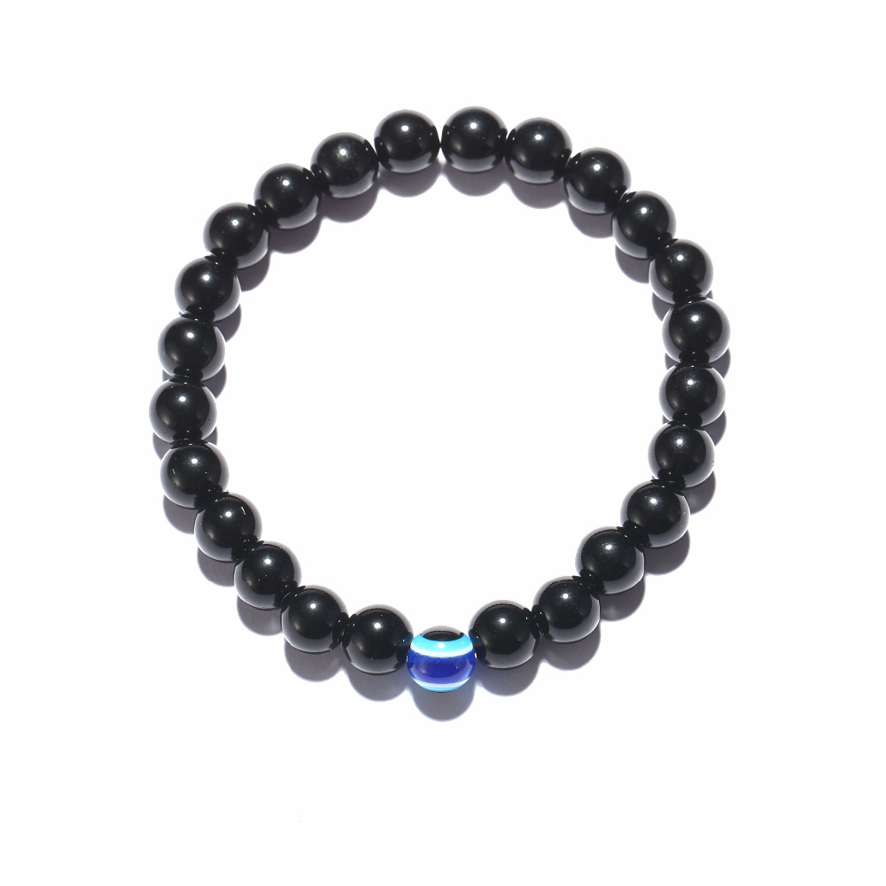 Fashion 3 Size Turkish Evil Eyes Bracelet Black Natural Stone Beads Obsidian Men Braslet For Male Yoga Hand Jewelry Accessories