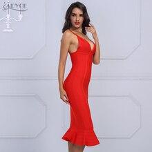 Adyce 2018 Women Spring Bandage Dress Sexy V-Neck Spaghetti Strap Knee Length Mermaid Vestidos Celebrity Evening Party Dresses