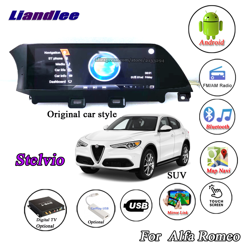 Liandlee For Alfa Romeo Stelvio 2017~2018 Android Multimedia GPS Original car style Stereo Radio Carplay Wifi BT Navi Navigation car window curtains legal