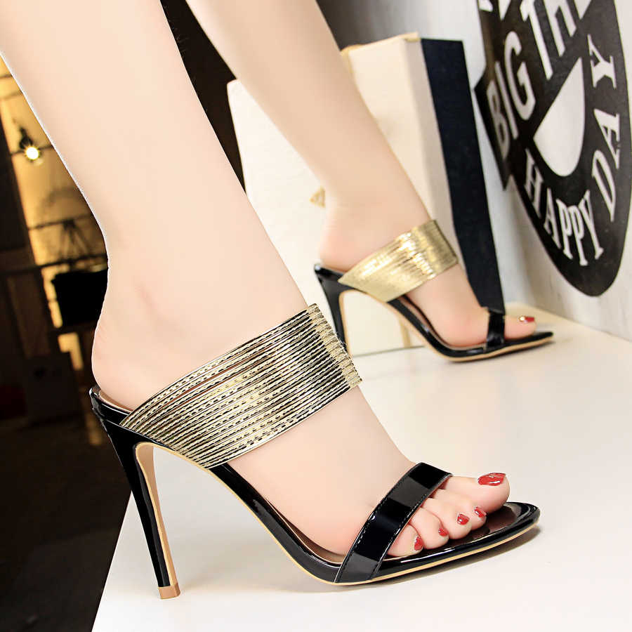 760883228e Shoes Woman Patent leather Mules glitter Peep toe Slides High heel Slippers  Slip on Sandals black gold silver bronze champagne