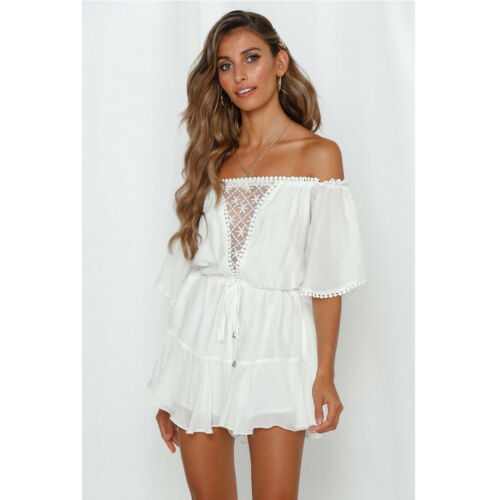 New Womens Boho Style Off Shoulder Lace Short Sleeve Jumpsuit Playsuit Romper Summer Holiday Party Beach Casual Loose Playsuit in Rompers from Women 39 s Clothing