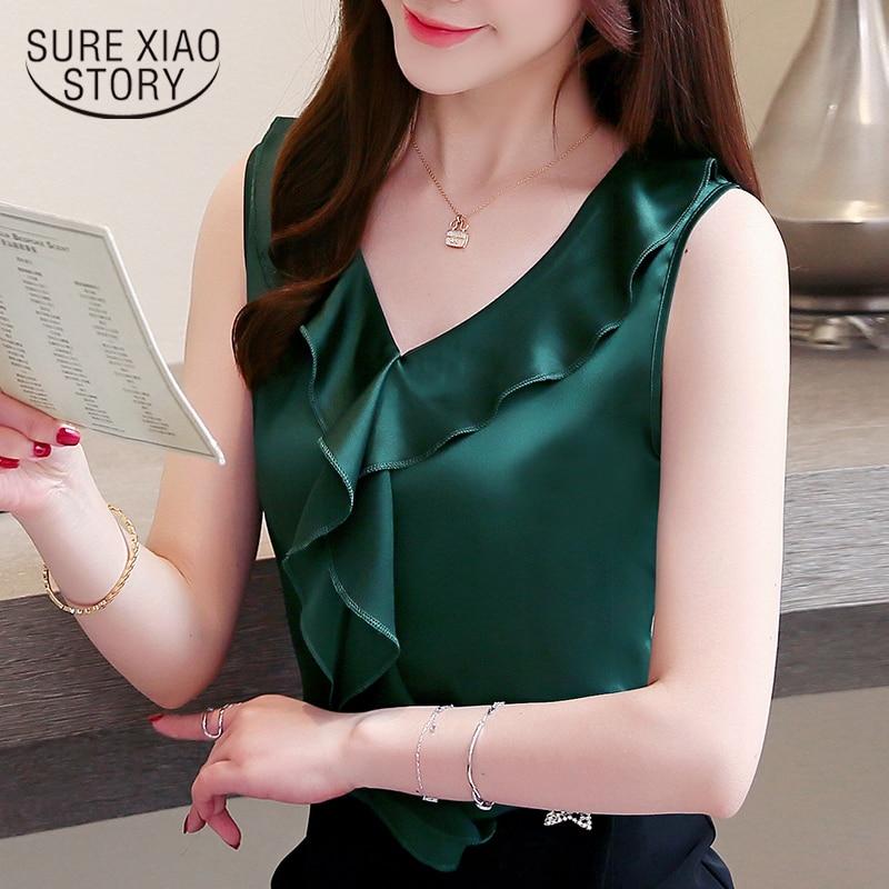 Fashion Women Blouses Plus Size Sleeveless V-neck Chiffon Blouse Shirt Summer Blouse Women Shirts Womens Tops And Blouses Z07 50