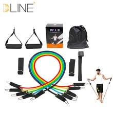 Fitnesa aprīkojuma pretestības virves vingrinājumi Pilates lateksa caurules Expanders CrossFit pretestības josla 11gab / komplekts Pārdošana