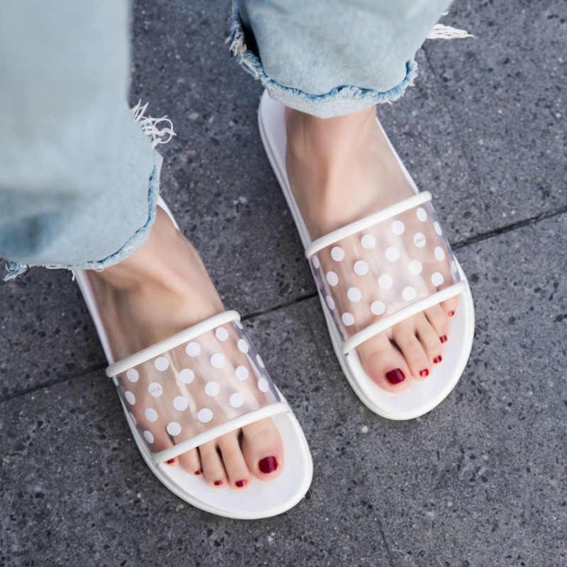 Zapatillas de verano zapatos de mujer 2019 Polka Dots transparente Peep Toe chancletas claro mujeres al aire libre chanclas planas de playa