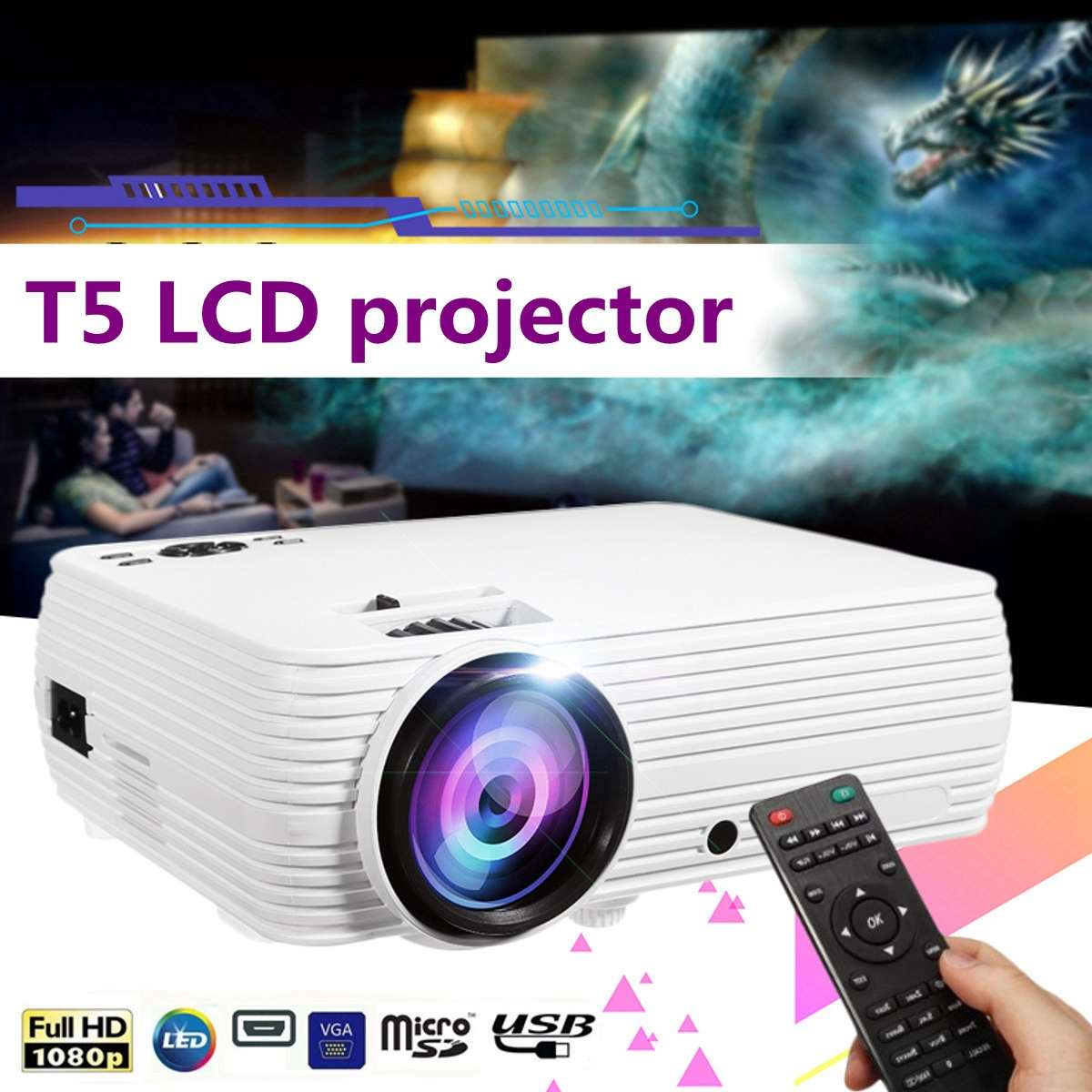 Mini Projector <font><b>7000</b></font> <font><b>Lumens</b></font> LCD 1080P FHD Wifi bluetooth Home Theater Android 6.0 X5 Audio Speaker Home Theater Cinema image