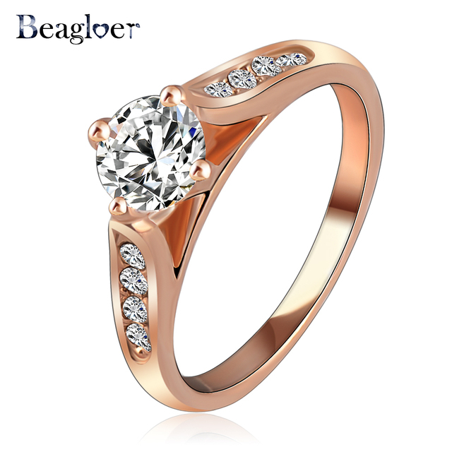 Beagloer New Ring For Women Rose Gold Color With Austrian Crystal