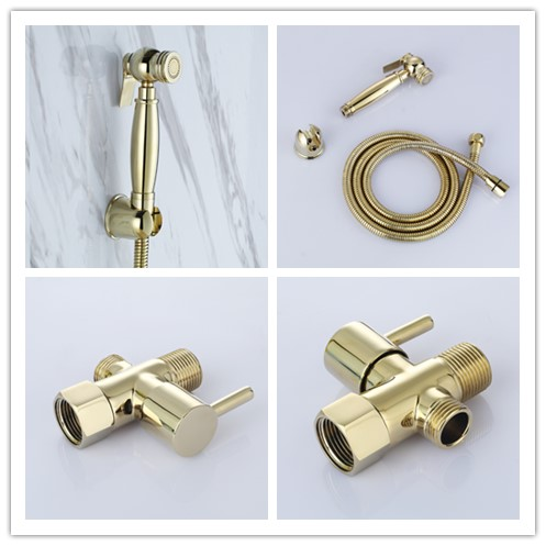 Gold Brass handheld bidet spray Health Cleaning Toilet Bidet Faucet Shower Spray Set with 7/8*7/8*1/2 T-adapter Diverter Valve-B брюки 7 8 quelle b c best connections by heine 154161