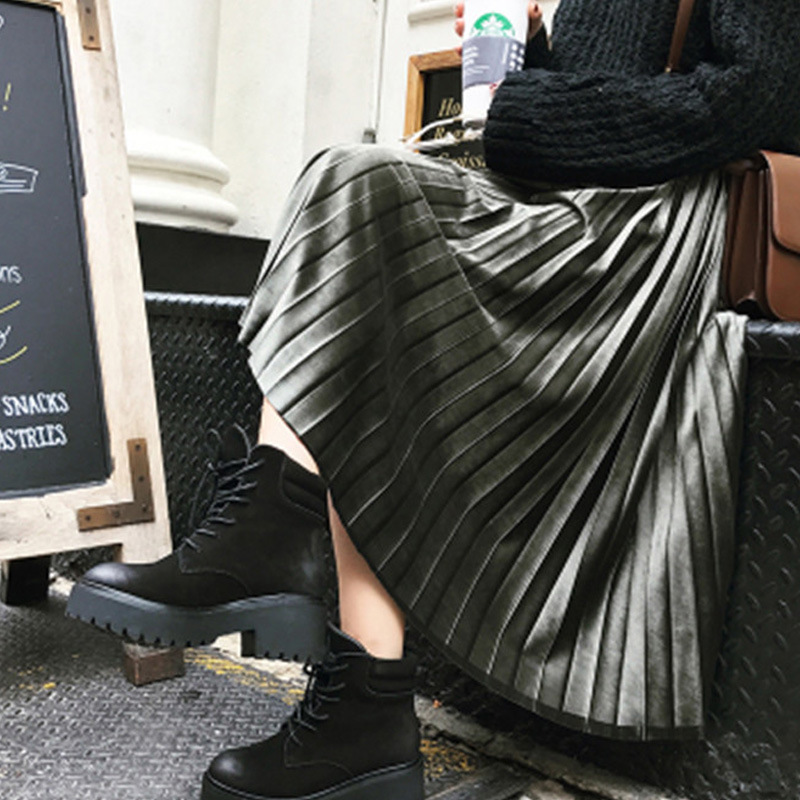 Autumn Winter Fashion Retro Pleated Suede Skirts 2018 Casual Style Long Midi Skirts Female A-Line High Waist Skirt Plue Size 6XL