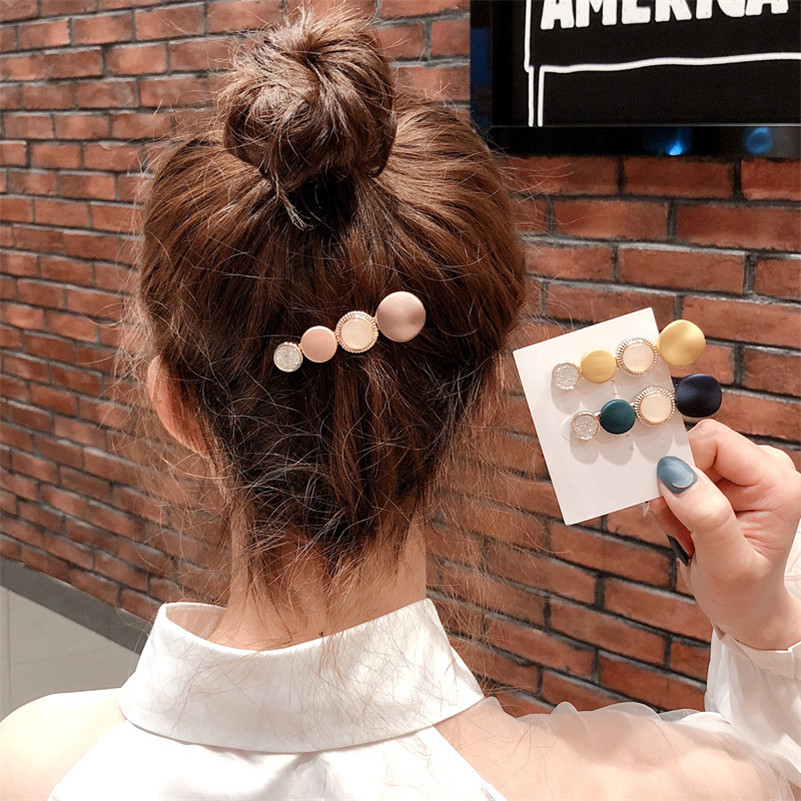Korean Women Pearl Acrylic Hair Clips Colorful Metal Hairpins Geometric Crystal Barrtettes Hairgrip Girls Hair Accessories
