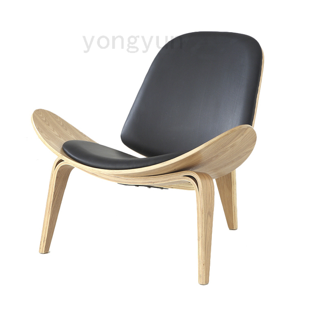 walnut furniture living room design lounge chair shell modern leisure wooden pad natural