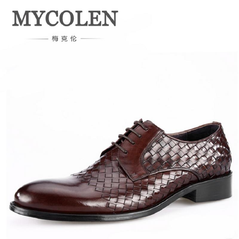 MYCOLEN All Season Mens Wedding Shoes Woven Pattern Genuine Leather Dress Shoes Lace-Up Fashion Formal Shoes Men's Flats 2017 men shoes fashion genuine leather oxfords shoes men s flats lace up men dress shoes spring autumn hombre wedding sapatos