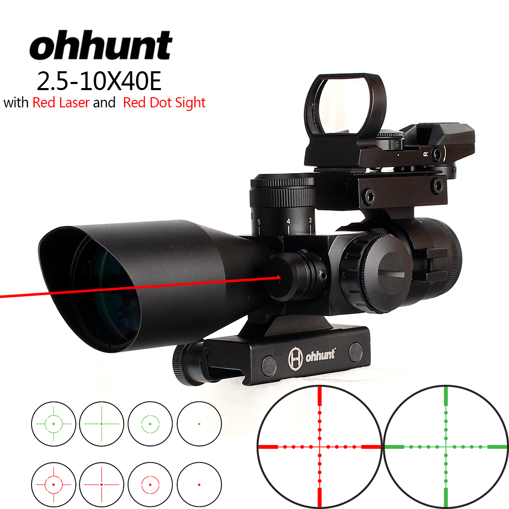 ohhunt 2 5 10x40 Mildot Illuminated Reticle Rifle Scope Holographic 4 Reticle Dot Sight Red Laser