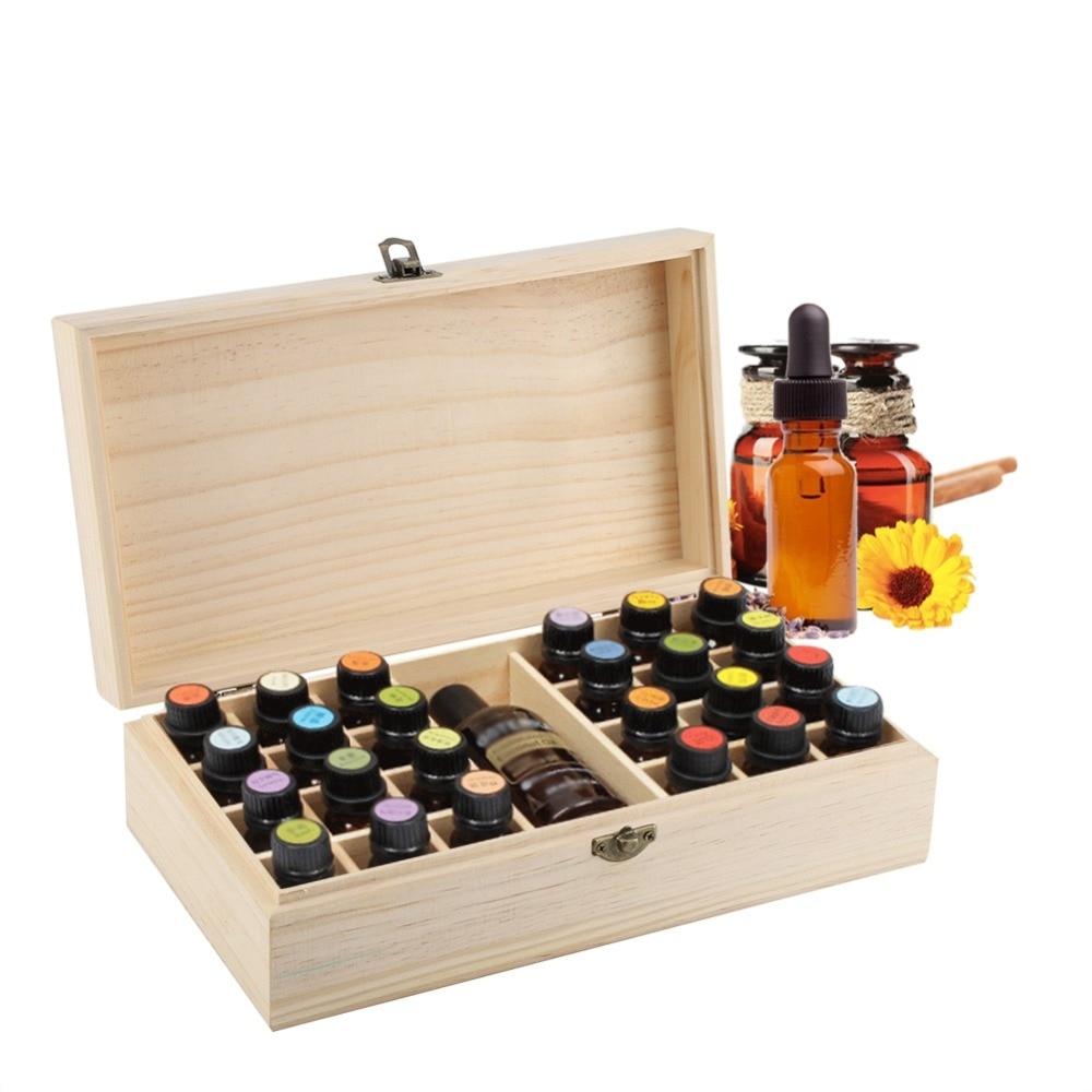 Natrual Wooden Large Capacity Essential Oil Storage Box Makeup Organizer Jewelry Display Case 1/25/74 Bottles Holder makeup organizer box