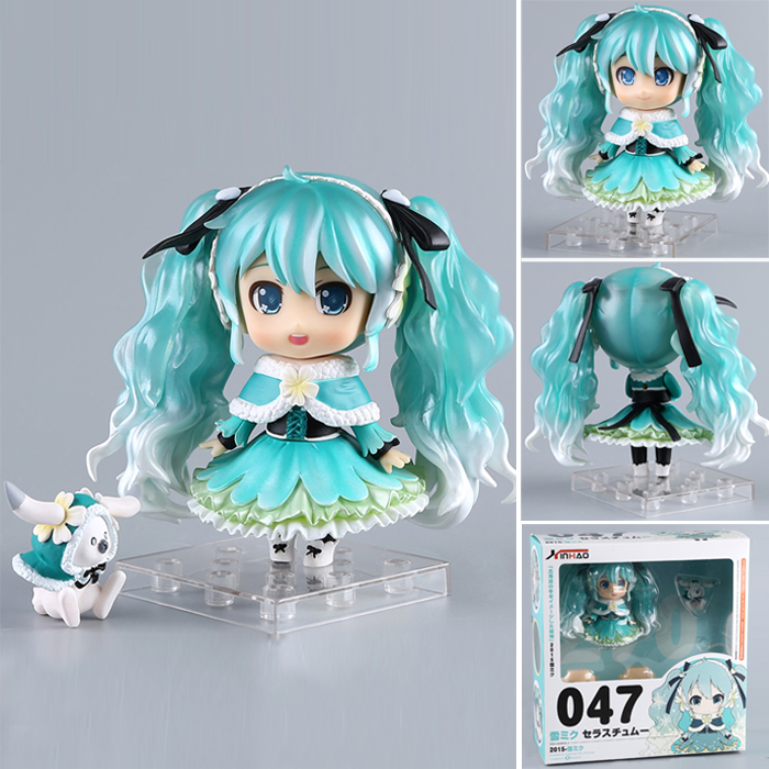 New anime action figure 10cm Hatsune Miku  Snow in Summer Snow Miku Cute replaceable face action figure collection gift model