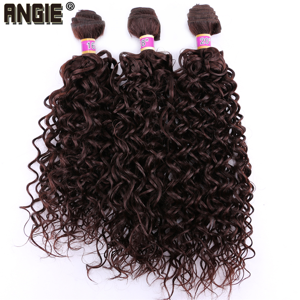 Angie Color Brown 70 Gram One Piece Water Wave Hair Bundles Machine Double Weft Synthetic Hair Extensions