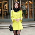 Woolen Coat New Autumn Winter Elegant Slim Women Blends Solid color Single Breasted Female Overcoat