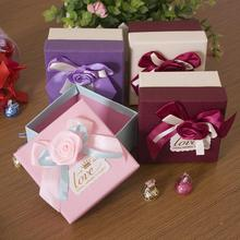 10pcs/lot Small Ribbon Flower Kraft Paper Gift Packaging Box Event Wedding Party Decoration Candy Box 10pcs kraft paper box black white cardboard gift box festival party small box soap wig pull out box support printing logo