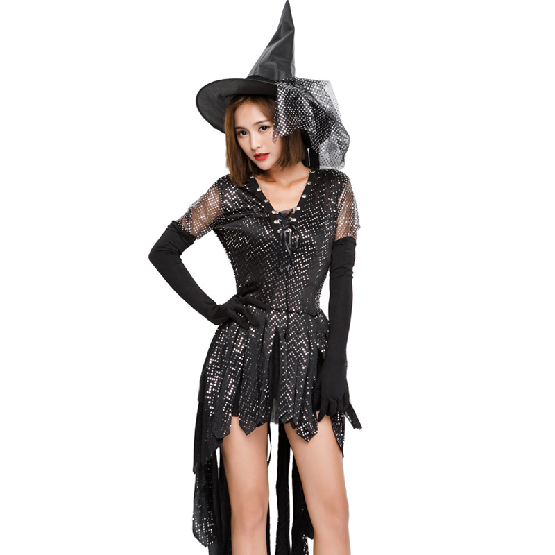 VASHEJIANG Sexy paillette Witch Cosplay Costumes women irregular Sexy Magic Flying witch costume for Hallween fancy dress