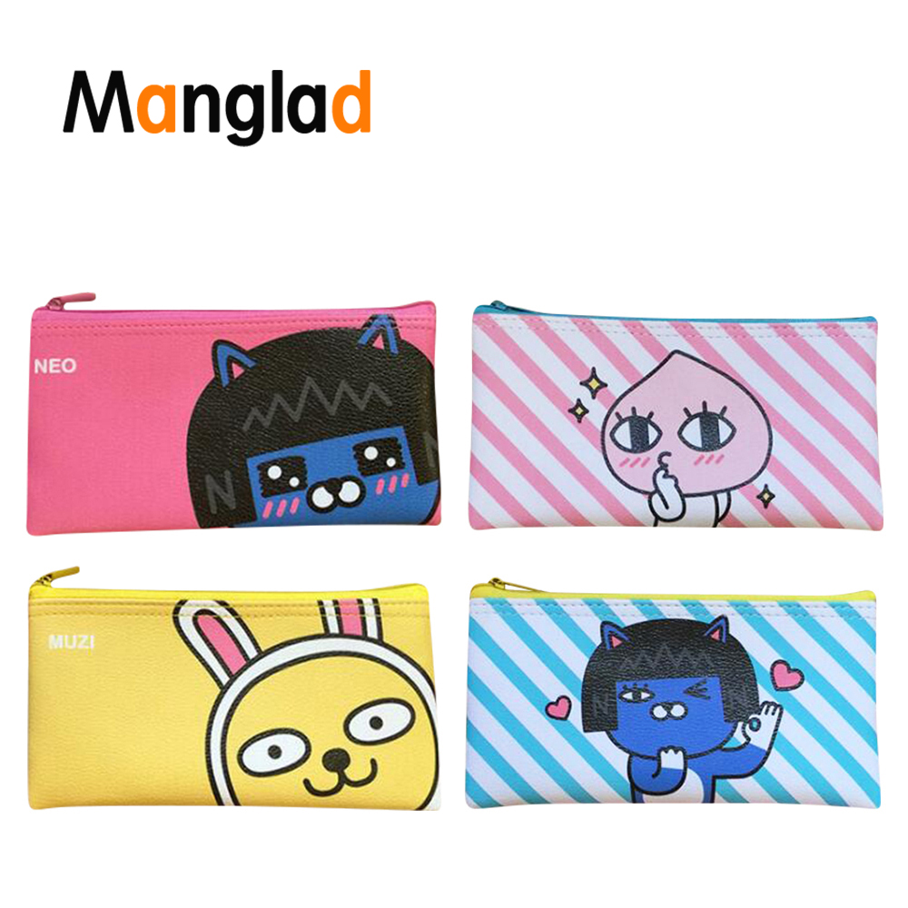 Manglad Cute Cartoon Animal Pencil Zipper Cases Waterproof Soft Pu Leather School Supplies Stationery Pen Bag for Students Gift(China)